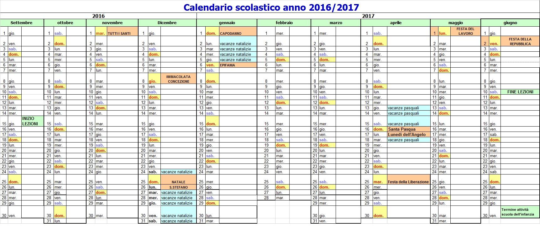 Calendario Scolastico Toscana.Pronto Il Nuovo Calendario Scolastico 2016 2017 Confermato