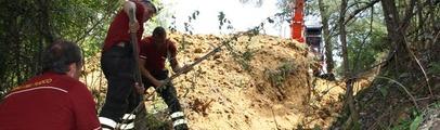 Finiscono nella tana di un istrice a dieci metri di profondità: i vigili del fuoco salvano due cani